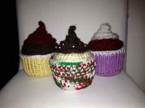 Three Crocheted Cupcakes